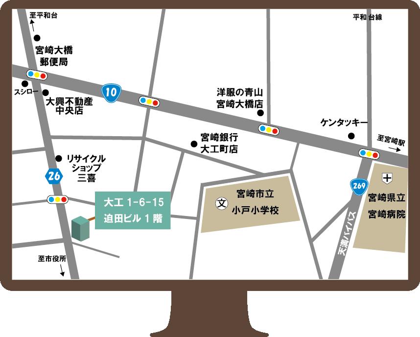 宮崎市パソコン教室地図